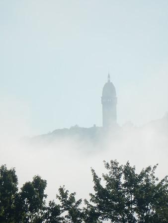 Summer 2015 Heublein Tower in the clouds